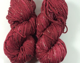 Squishy Tweed, Hand Dyed Yarn, Color, Red High Heels, Hand Dyed yarn, tweed, superwash merino, aran weight, multi colored