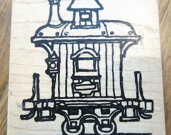 Graphic Rubber Stamp Train Caboose Wooden Rubber Stamp