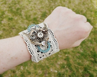 Steampunk lace cuff