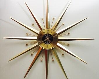 RESERVED Mid Century Modern Starburst Wall Clock by Seth Thomas, Sunburst Midcentury Hanging Clock, Atomic Age, Eames Era Clock