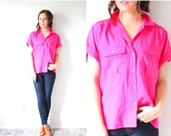 30% OFF out of town SALE Vintage neon pink short sleeve blouse // bright pink 1980's blouse // pink boho blouse // pink top modest blouse //