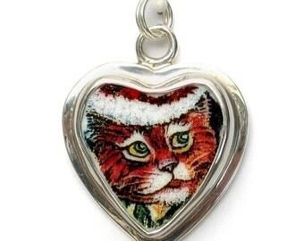 Broken China Jewelry Orange Striped Kitty Cat Sterling Heart Charm 52