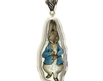 Broken China Jewelry Wedgwood Beatrix Potter Peter Rabbit Blue Jacket Free Form Sterling Pendant