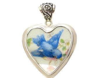 Broken China Jewelry Vintage Bluebird Profile A Sterling Heart Pendant