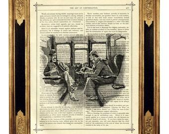 Sherlock Holmes & Dr John Watson Train - Vintage Victorian Book Page Art Print Steampunk Engraving Arthur Conan Doyle