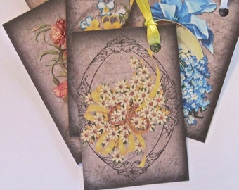 Victorian Flower Lady Tags, Wedding tags, gift tags lot of 8