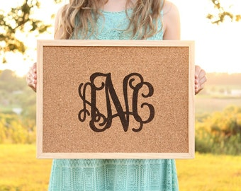 Monogrammed Cork Board Sign Office Wall Gallery Decor Dorm Room Decor Message Board Custom Monogram Wall Sign Teacher Gift Tack Board