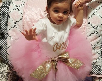 Pink tutu with gold glitter ribbon,  Pink and gold tutu, 1st birthday tutu, baby girl 1st birthday outfit, pink and gold tutu, pink tutu