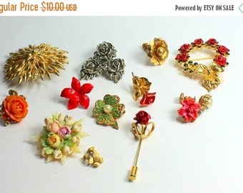 SPRING SALE Shabby Chic  Lot of Vintage  and Salvaged Colorful  Flower Jewelry Parts and Pieces