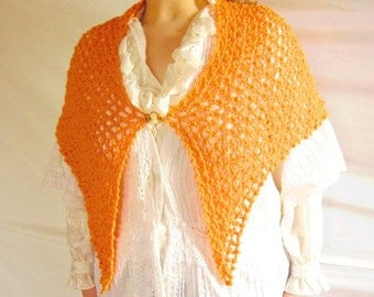 Shawl Hand Crocheted Neon Orange Fishnet Shawl with Victorian Amber Cameo Brooch Pin
