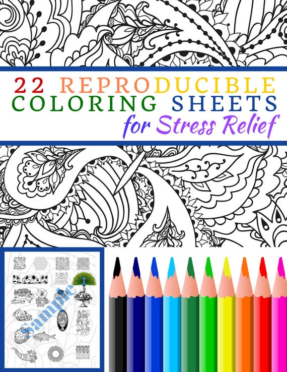 Stress Relieving Coloring Pages Pdf : Items similar to pdf reproducible coloring sheets for