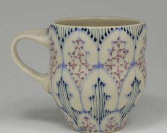 Coffee Mug - Handmade Ceramic Cup with Sky Blue, Navy and Purple Pattern
