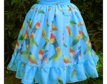 turquoise parrot print chiffon knee length skirt