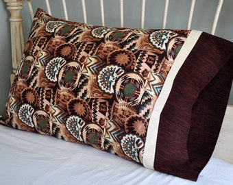 Basket Pillowcase / Native American / Southwest / Handmade Pillow Case / Standard Twin Pillowcase / Indian Tribes / Embroidered Pillow Case