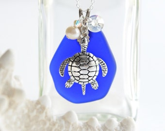 Seaturtle Seaglass Necklace Sea Turtle Necklace Cobalt Blue Sea Glass Pendant Jewelry Beach Glass Necklace Beach Jewelry Sea Turtle Jewelry