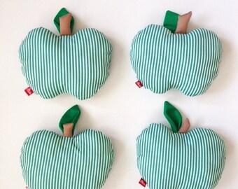 modern striped patterned GREEN APPLE plush stuffy pillow!!!
