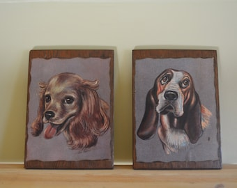 Pair of Kitsch Dog Plaques
