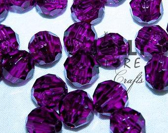 6mm Round Faceted Beads - Dark Amethyst Translucent - 500 piece bag