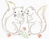 Squirrels Tea Towel Embroidery Kit, Brown Squirrels, Beginner Embroidery Kit, DIY Sewing, Hand-Stitching - 'Squirre