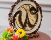 Stained glass CAKE TOPPER- monogram- any colors