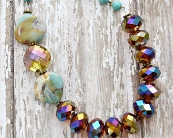 Womens necklace, Crystal jewelry, Chunky necklace, Gifts for friends, Stone & crystal beaded, elegant unique glass bead, Asymmetrical Golden
