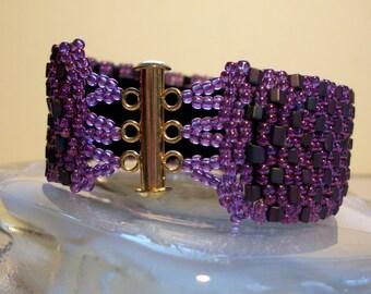 Handmade Purple Peyote Bracelet