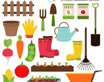 Vegetable Gardening Clipart Set - garden clip art, carrots, soil, seeds, rake, trowel - personal use, small commercial use, instant download