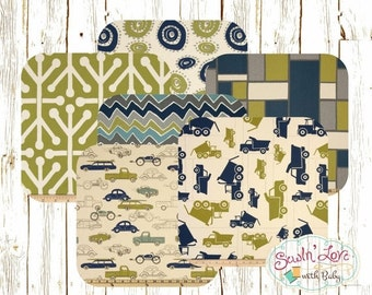 Sitewide Discount Baby Boy Bedding - Blue and Green Cars and Trucks - Custom Crib Bumper, Crib Skirt, Fitted Crib Sheet - Bumperless Crib Be