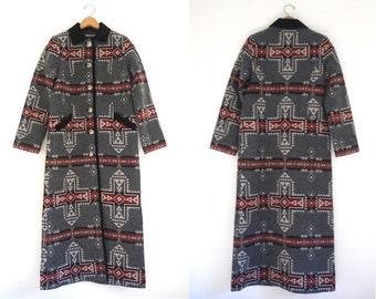 Pendleton southwestern Indian blanket long wool duster coat in gray red black