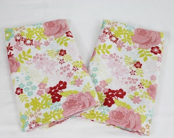 Roses and Flowers Shabby Chic Cloth Napkins - Double Sided, Thick and Large - set of 2