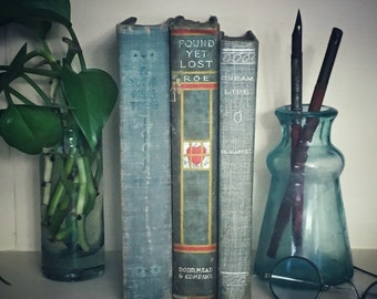 Three Hard Cover Antique Books, Shabby Decor, Blue and Green, EP Roe