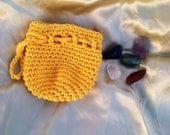 Healing Chakra stones with yellow crochet drawstring coin dice bag pouch purse sack