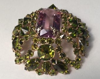 Schreiner New York Brooch in Amethyst and Peridot Rhinestones - Purple and Green Eleganza Pin Stunning