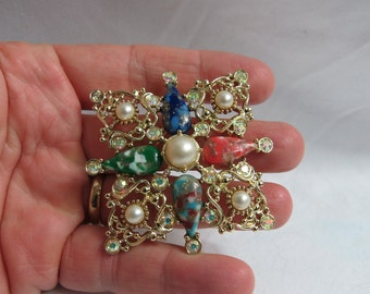 Large Vintage Sarahcov Sarah Coventry Dappled Cabochons Pin or Brooch