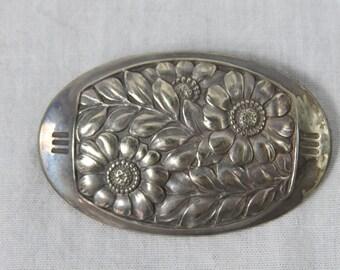 Vintage Silver Stamped FlowersBrooch or Pendant