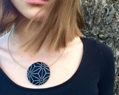 Pretty indigo Fabric Button Brooch and Necklace Combo - Japanese deep Blue and Cream