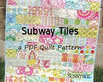 Baby Quilt Pattern, Subway Tiles Fat Eighths Simple Fast Throw Brick Layer Look, Beginner Intermediate Sunnyside Designs, Quilt Pattern