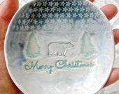Merry Christmas dish, Polar Bear Dish, Wildlife ceramic bowl, hostess gift, Rustic Decor, Bear Decor, Ring bowl, Ring dish, Holiday Decor