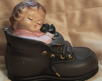 Vintage Lego Japan Pottery Shoe Bank Girl Sleeping In Shoe With Dog Coin Bank