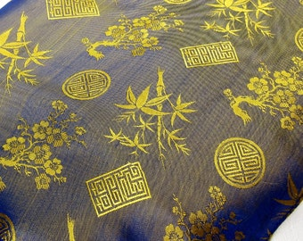 Asian-Inspired: Long Dual-Tone Silk Scarf with Woven Asian-Inspired Designs