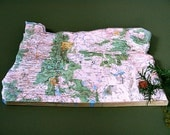 OREGON Vintage National Geographic State Mini Map, Wall Art