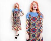 Vintage 1960s Dress - Paisley Cotton Blue Renaissance Empire Hippie Boho Dress - Small