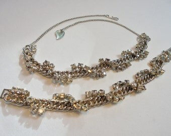 Vintage Glass Rhinestone Necklace / Bracelet Set / Lot Mid Century Chunky Link Art Deco Retro 1950s Statement Wedding Set
