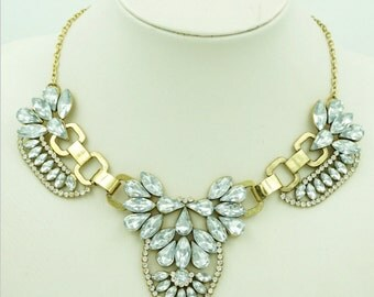 Crystal & Gold Collar Statement Necklace