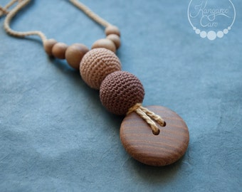 The Best Babywearing Nursing Necklace / Teething Necklace Wood Crochet / Breastfeeding Jewelry - Cappuccino