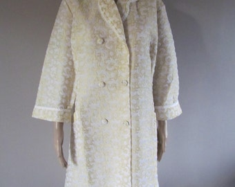 Vintage MID CENTURY Retro Quilted HouseCoat Robe 1950's Made in ITALY Gold  Size 52 Mint Condition