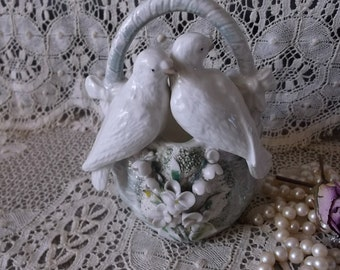 Vintage Pottery ware, made in Germany, doves on basket, cottage chic. vintage wedding