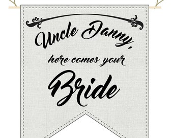 Custom Wedding Banner, here comes the bride sign