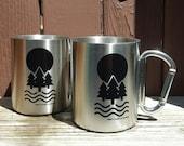 Coffee Mug Set - The Nature Stainless Steel Carabiner Mug