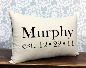 Personalized Family Wedding Pillow, Custom Name And Established Date, Personalized Wedding or Anniversary Gift, Cotton Anniversary Gift